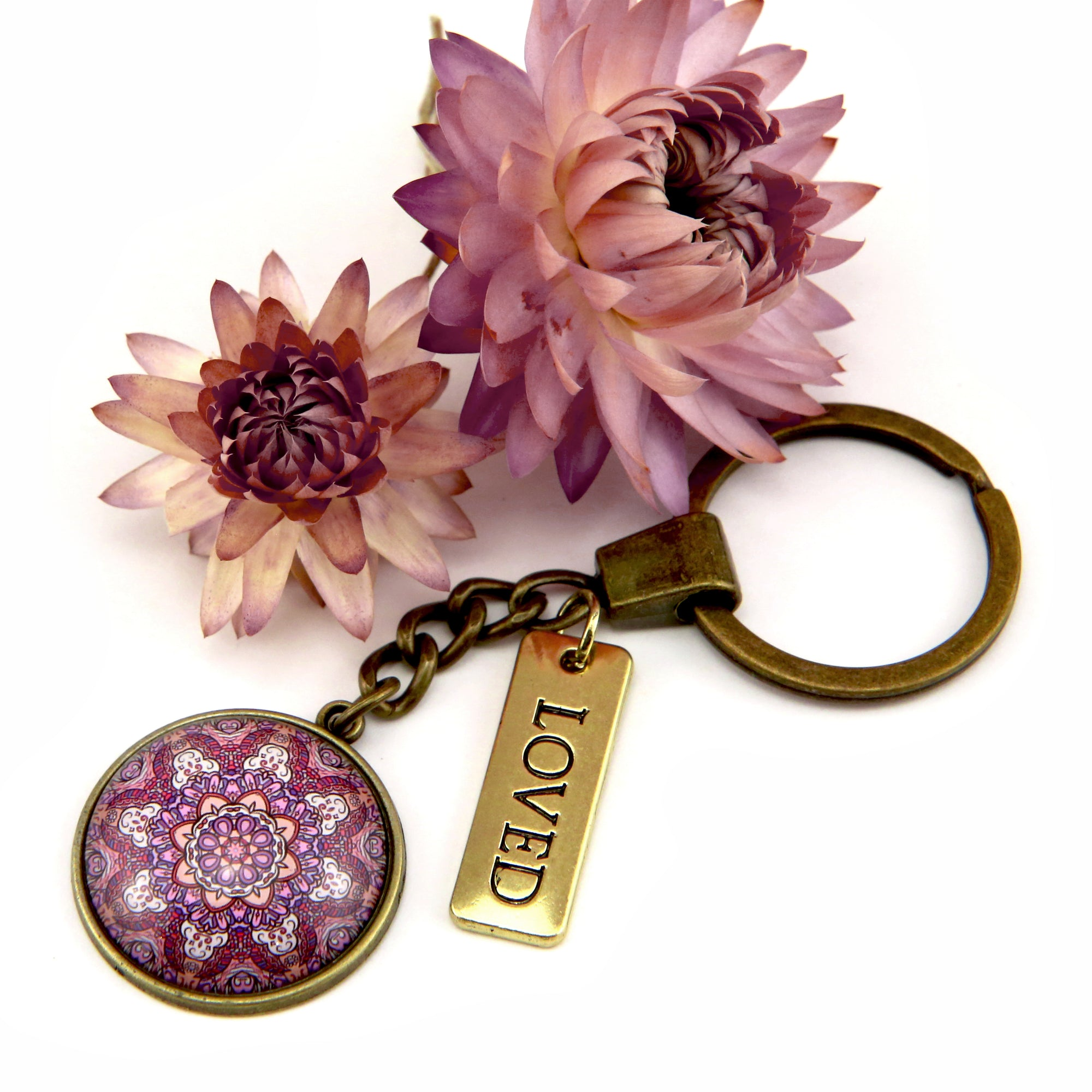 BOHO Collection - Vintage Gold Keyring with 'LOVED' Charm - Daybreak (10341-A)