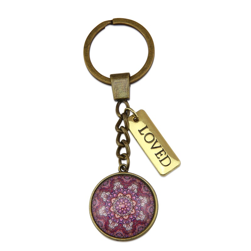 BOHO Collection - Vintage Gold Keyring with 'LOVED' Charm - Daybreak (10341)
