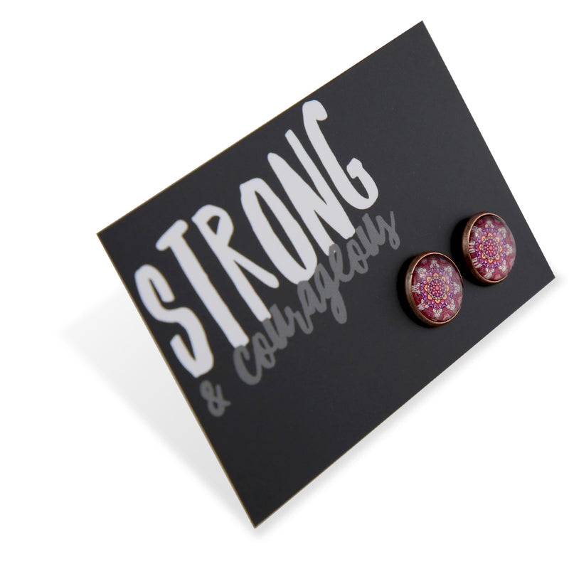 BOHO Collection - Strong & Courageous - Vintage Copper surround Circle Studs - Daybreak (8414-R)