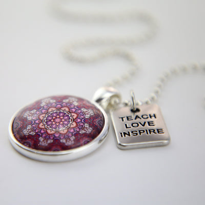 BOHO Collection - Bright Silver 'TEACH LOVE INSPIRE' Necklace - Daybreak (10214)