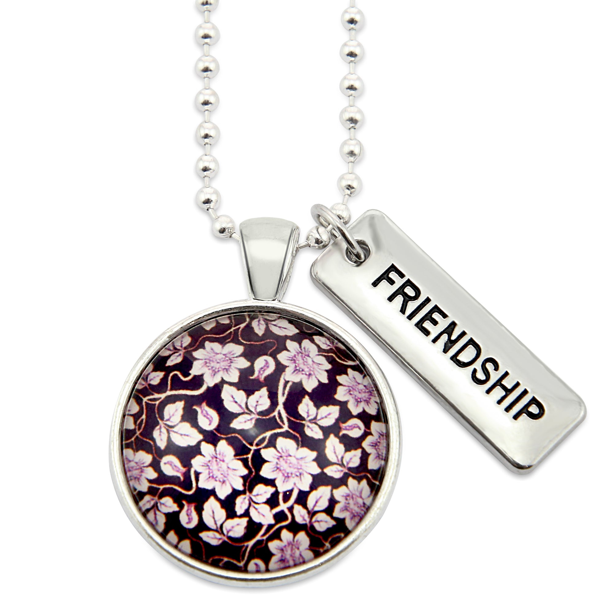 Heart & Soul Collection ' FRIENDSHIP ' Silver Necklace - Deep Purple Divine (11112)