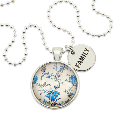 Beautiful vintage china blues pendant necklace - word charm family - Sister & soul - beautiful gifts for friends sisters Mums & girlfriends - designed to encourage and uplift - Australian business