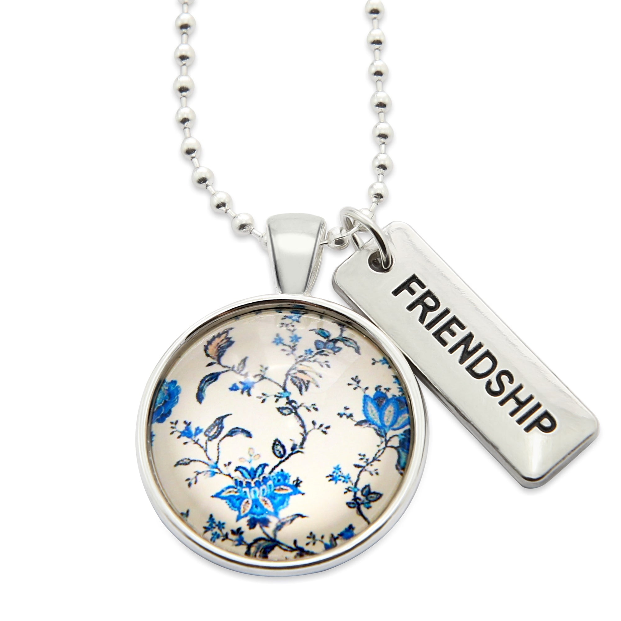 China Blues  ' FRIENDSHIP ' Necklace in Bright Silver - DiVine (10934)