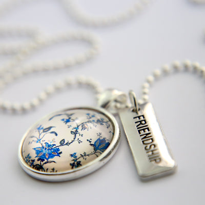 Beautiful vintage china blues pendant necklace - word charm friendship - Sister & soul - beautiful gifts for friends sisters Mums & girlfriends - designed to encourage and uplift - Australian business
