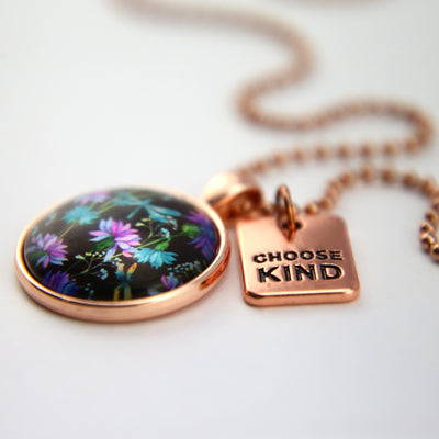 Wildflower Collection - Rose Gold 'CHOOSE KIND' Necklace - Dragonfly Grove (10921)
