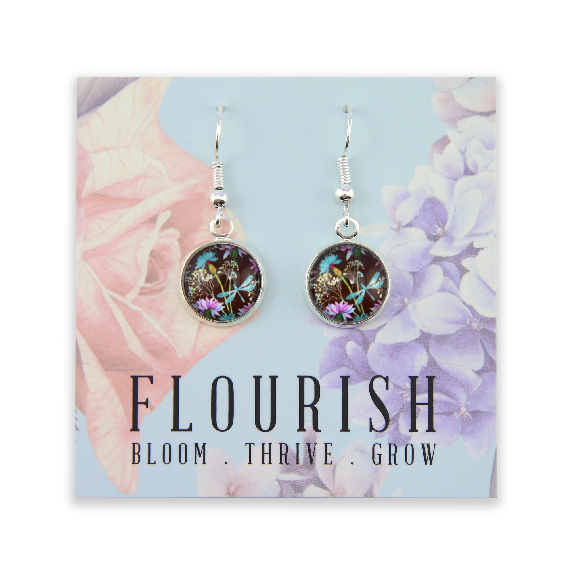 Wildflower Collection - Flourish - Stainless Steel Bright Silver Dangle Earrings - Dragonfly Grove (8611-F)