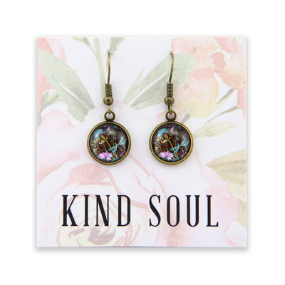 Wildflower Collection - Kind Soul - Vintage Gold Dangle Earrings - Dragonfly Grove (9612)