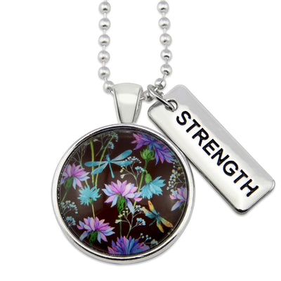 Wildflower Collection - Bright Silver 'STRENGTH' Necklace - Dragonfly Grove (10451-A)