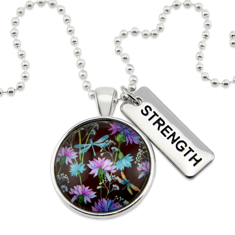 Wildflower Collection - Bright Silver 'STRENGTH' Necklace - Dragonfly Grove (10451)