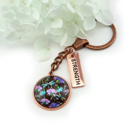 Wildflower Collection - Vintage Rose Gold Keyring with 'STRENGTH' Charm - Dragonfly Grove (10644)