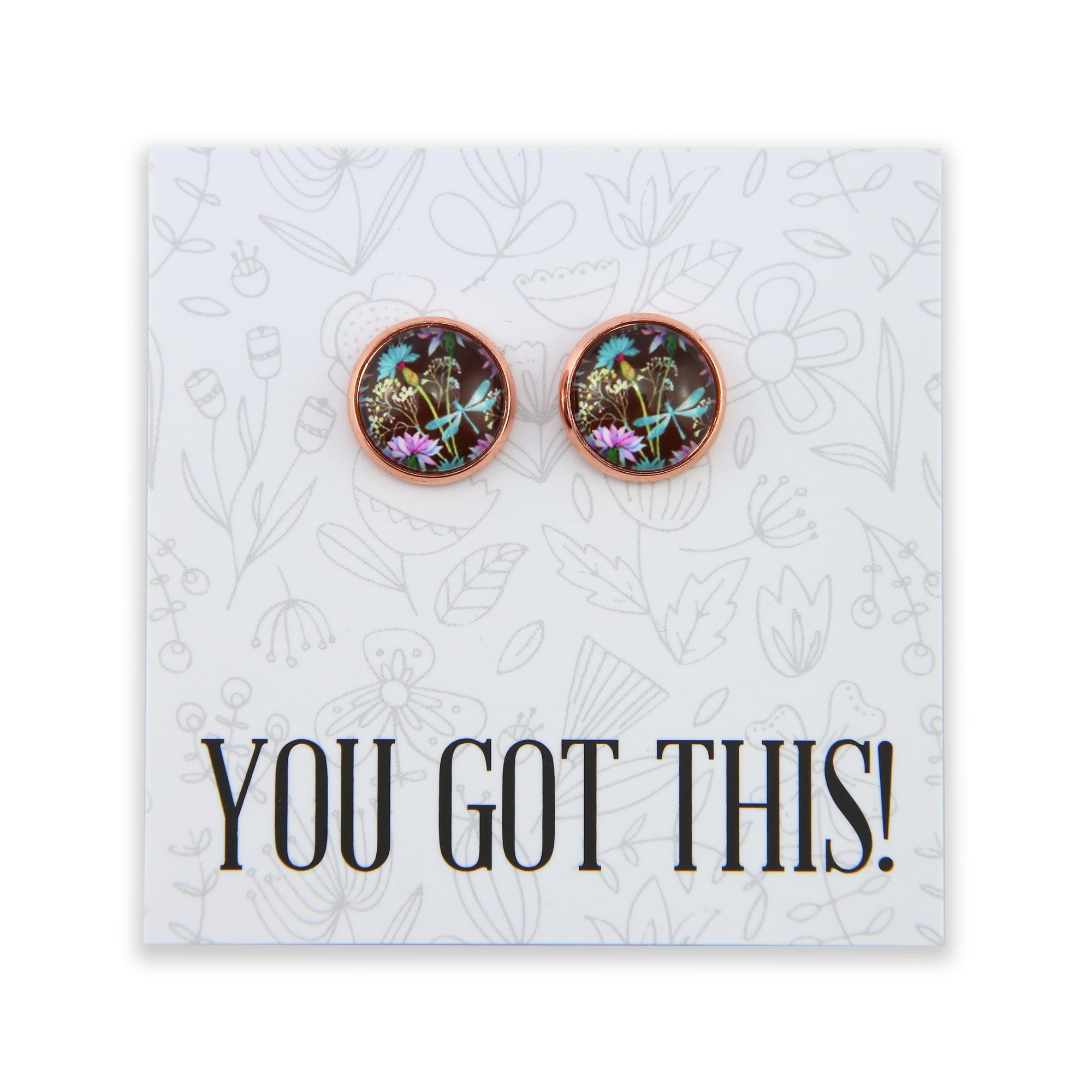 Wildflower Collection - You Got This- Rose Gold surround Circle Studs - Dragonfly Grove (8712-R)