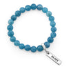 Stone Bracelet - Oceana Wash - 8mm Beads with Word Charm