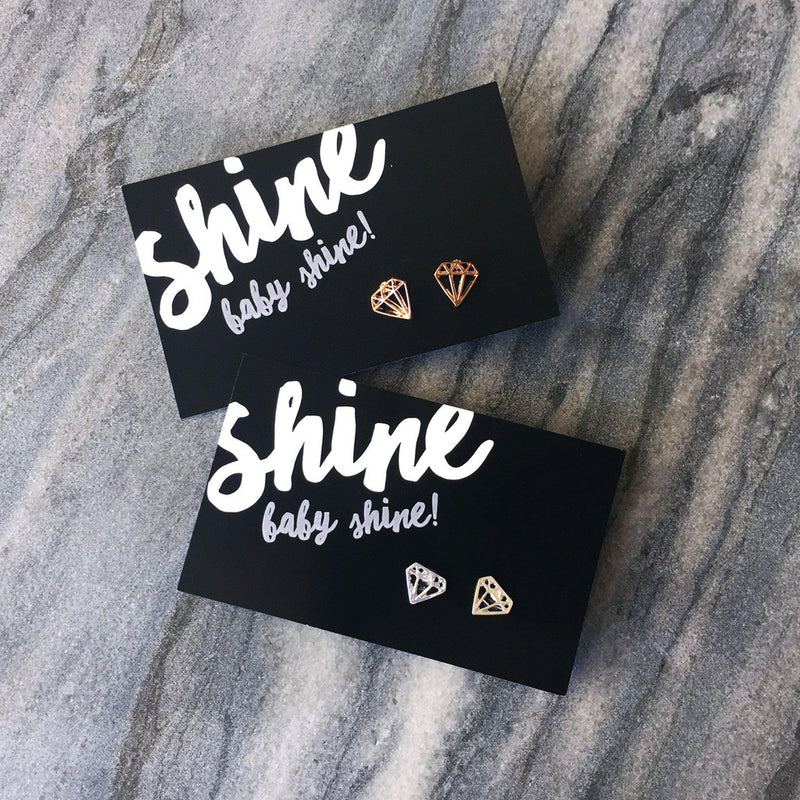 Shine Baby Shine! - Silver Geometric Diamond Earrings -  - 1