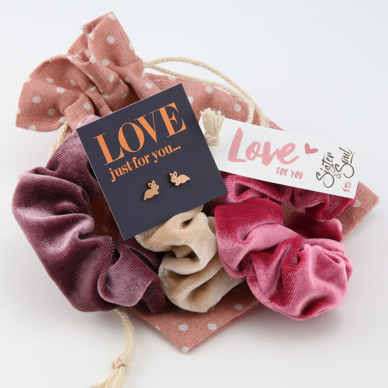 Dusty Rose Velvet SCRUNCHIE Easter Gift Bundle with Bunny Earrings (S06)