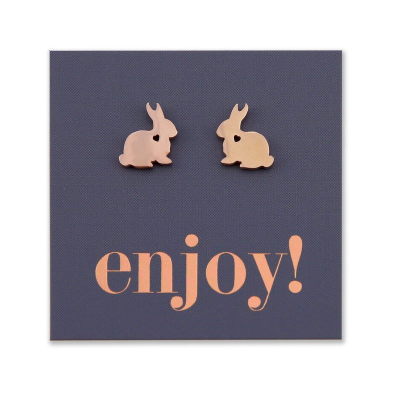 Stainless Steel Earring Studs - Enjoy - BIG BUNNY RABBIT LOVE