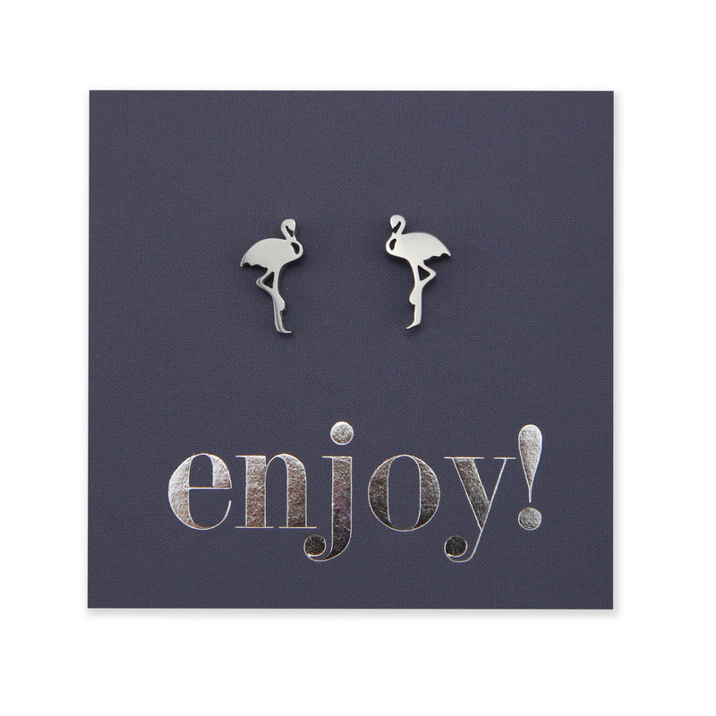Stainless Steel Earring Studs - Enjoy - FLAMINGO