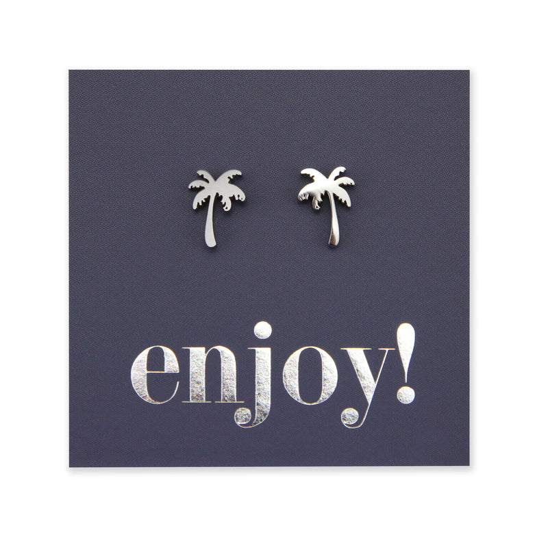 Stainless Steel Earring Studs - Enjoy - PALM TREE