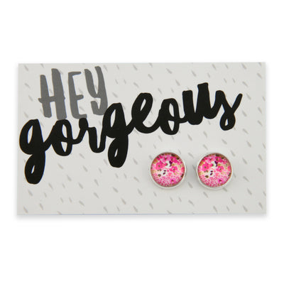 PINK COLLECTION - Hey Gorgeous- Silver surround circle studs - Fandango (9212)