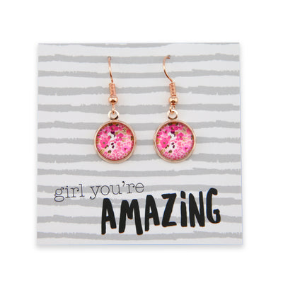 Pink Collection - Girl You're Amazing - Stainless Steel Rose Gold Dangle Earrings - Fandango (9903)