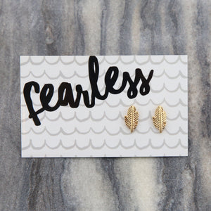 Fearless Feather Earring Studs - Gold (9801)