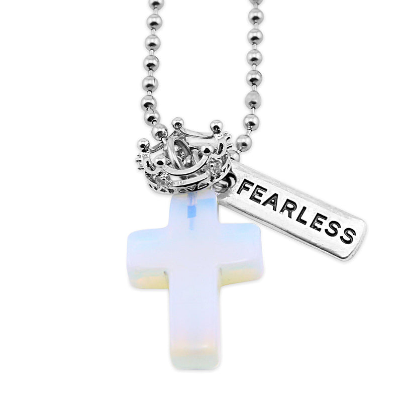 Cross & Crown Necklace - Opalite Opaque - With Word Charm
