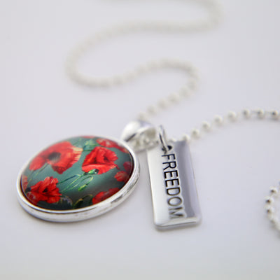 POPPIES Collection - Bright Silver 'FREEDOM' Necklace - Field Poppy (12454)
