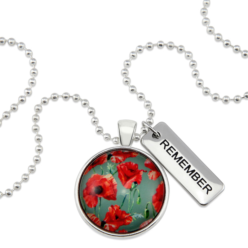 POPPIES Collection - Bright Silver 'REMEMBER' Necklace - Field Poppy (10265)