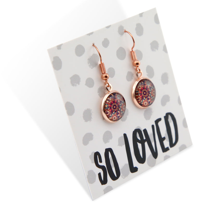 BOHO Collection - SO LOVED - Stainless Steel Rose Gold Dangle Earrings - Fiera (8514-R)
