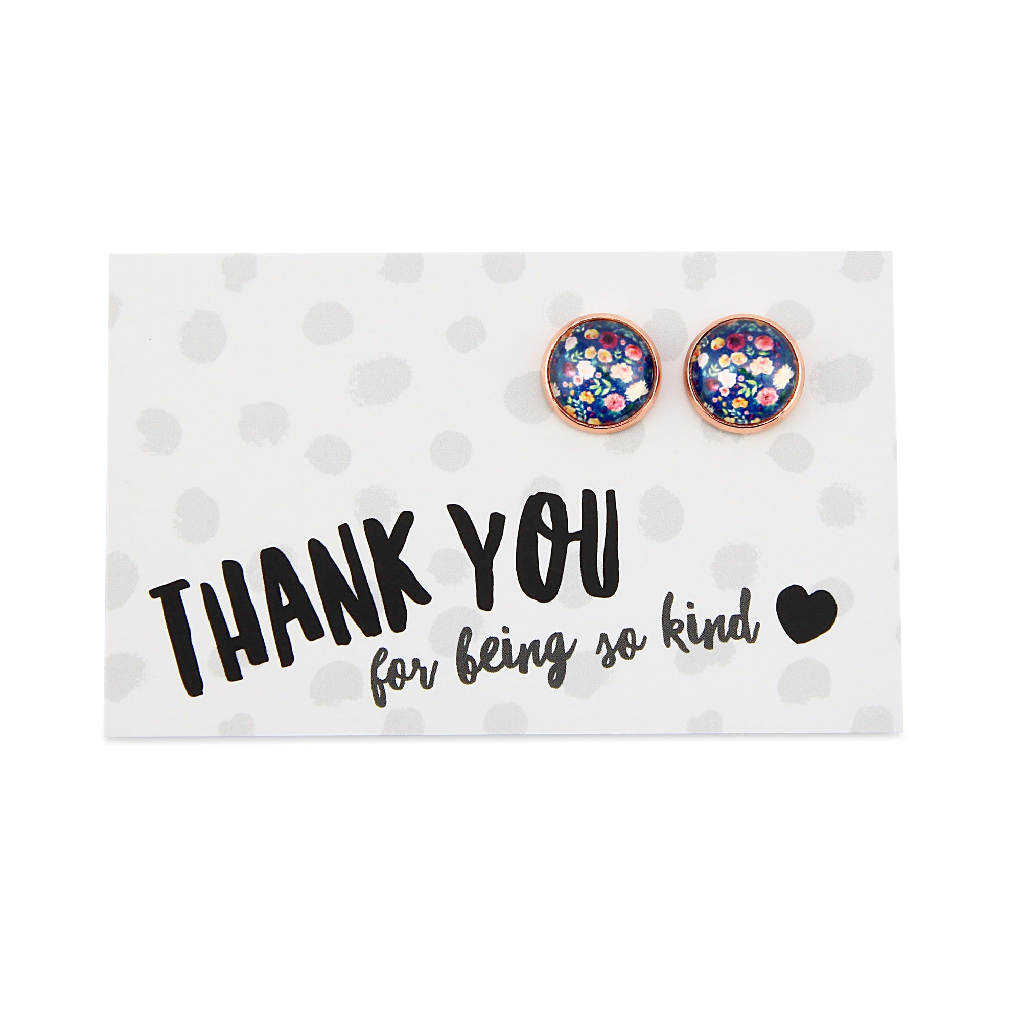 Heart & Soul  Collection - THANK YOU for being so kind! - Rose Gold surround Circle Studs - Florabelle (9206)