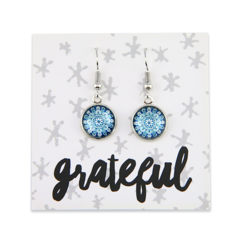 Heart & Soul Collection - Grateful - Stainless Steel Bright Silver Dangle Earrings - Floral Ice (9905)