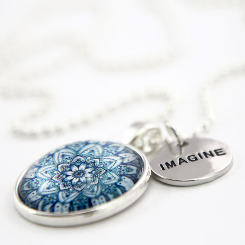 Heart & Soul Collection - Bright Silver ' IMAGINE ' Necklace - Floral Ice (10564)