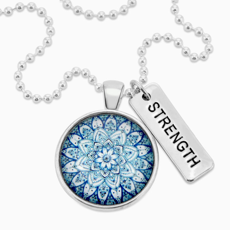 Heart & Soul Collection - Bright Silver ' STRENGTH ' Necklace - Floral Ice (10512)
