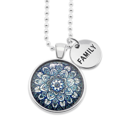 Heart & Soul Collection - Bright Silver ' FAMILY ' Necklace - Floral Ice (10915)