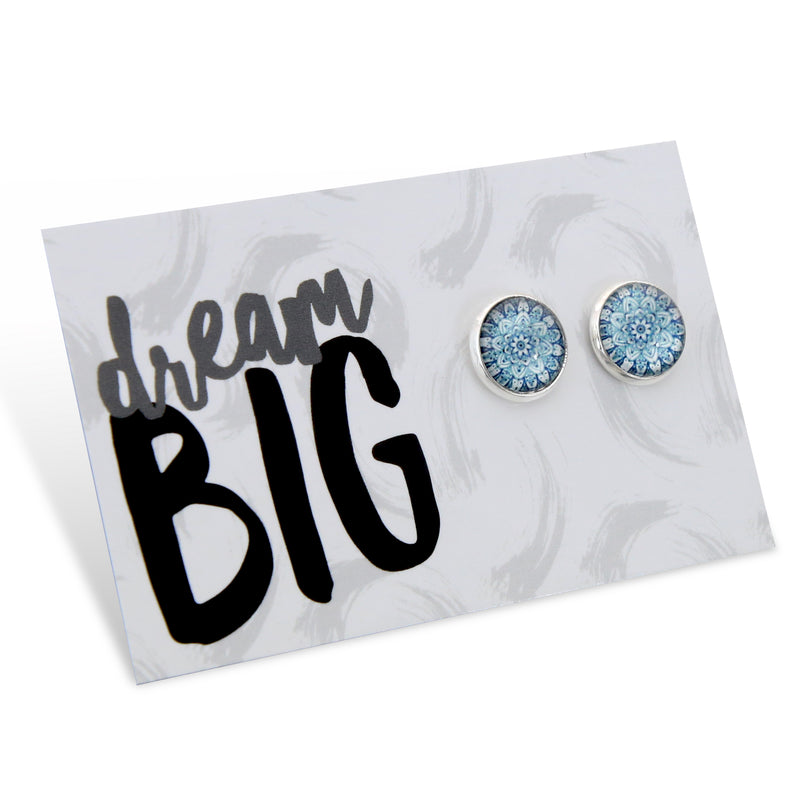 DREAM BIG - Bright Silver Surround Earring Studs - Floral Ice (8601)