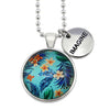Summer Collection - Bright Silver 'IMAGINE' Necklace - Frangipani Oasis  (12652)