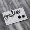 Fearless! - Black Resin Earrings set in Bright Silver (8916-F)
