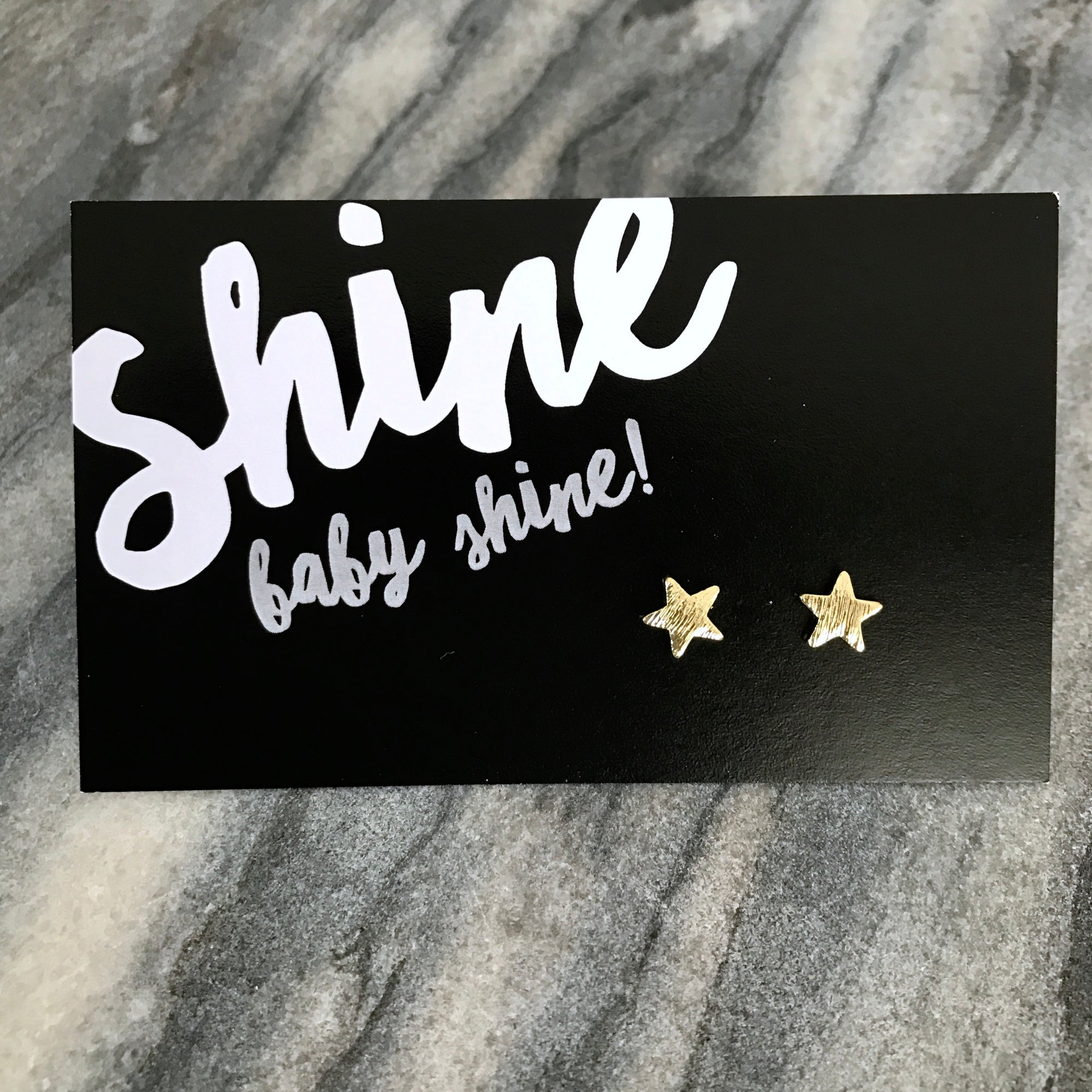 Shine Baby Shine! - Tiny Star Studs  - Brushed look Gold Earrings (9709)