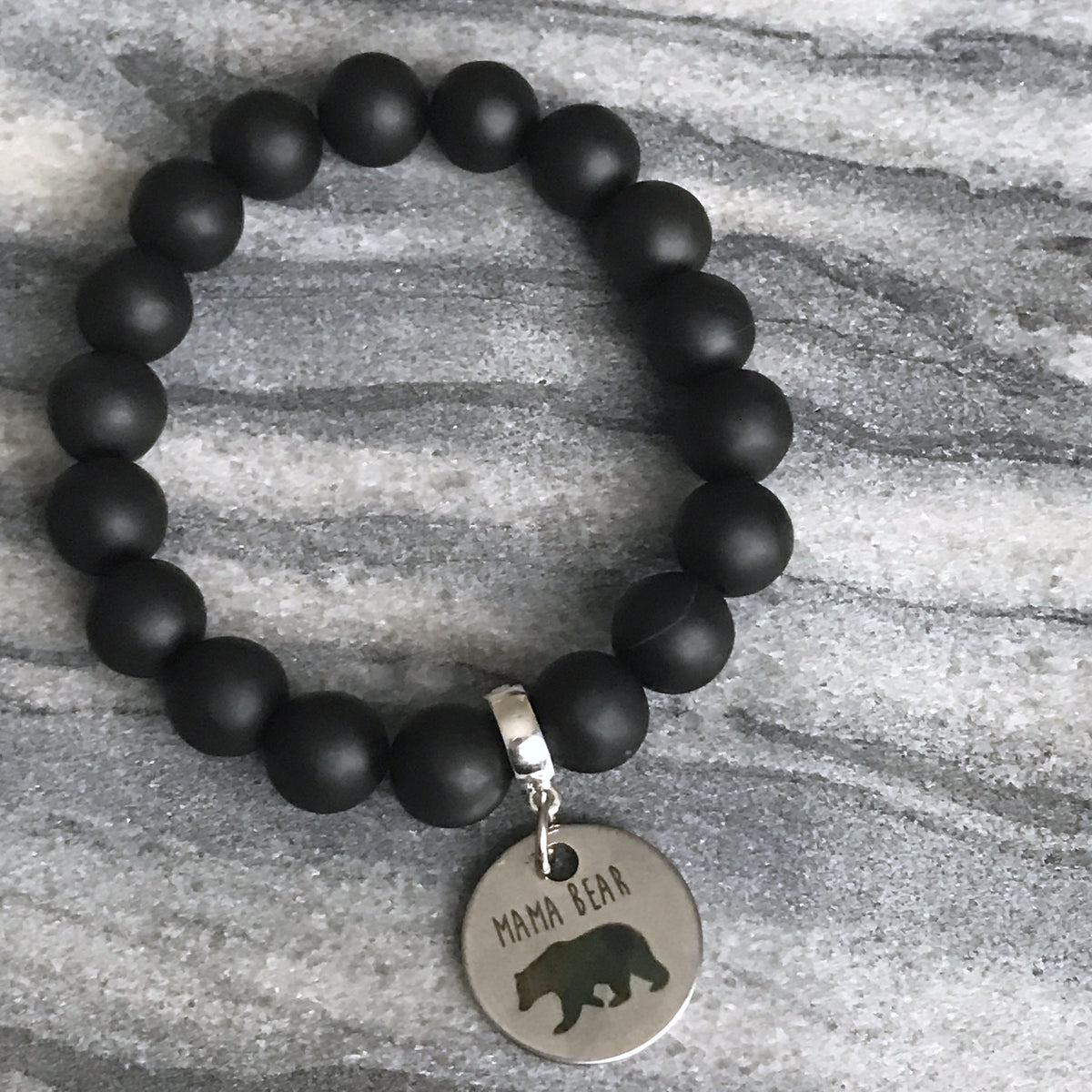 Stone Bracelet - ' MAMA BEAR ' Matt Black Onyx - Chunky 10mm beads