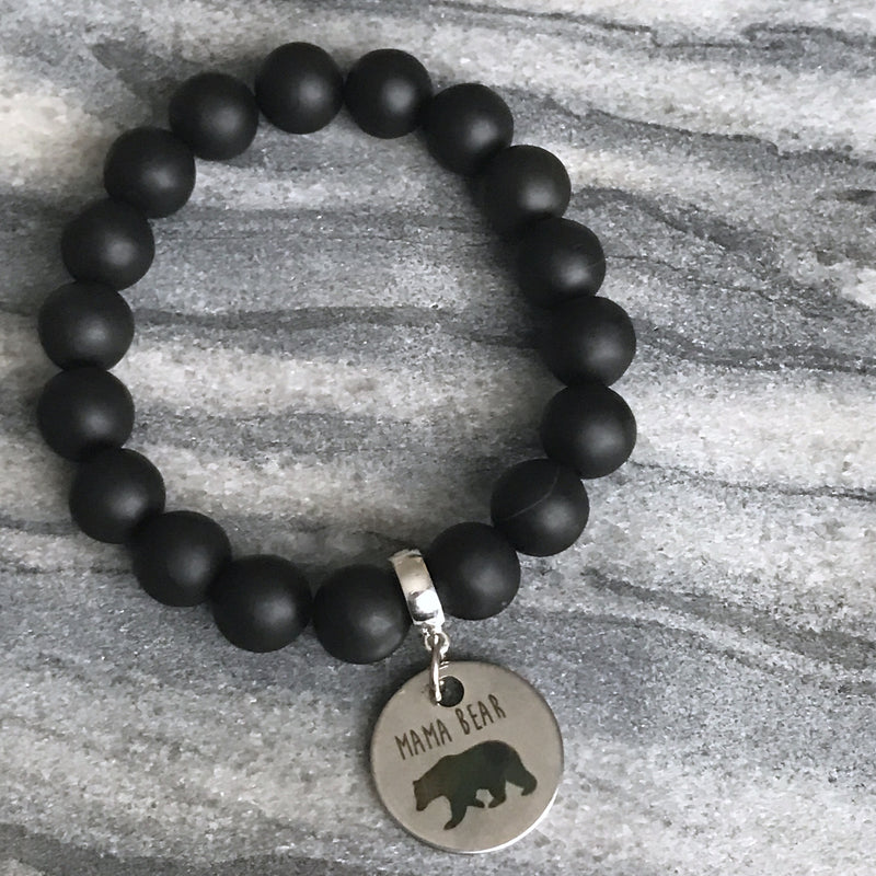 Stone Bracelet - ' MAMA BEAR ' Matt Black Onyx - Chunky 10mm beads (11514)