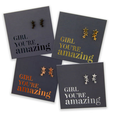 Stainless Steel Earrings. Hypoallergenic studs in Rose Gold, Silver, Black & Gold. Star shaped. Beautiful Gifts by Sister and Soul. Foil Foil feature gift card Girl you are amazing.