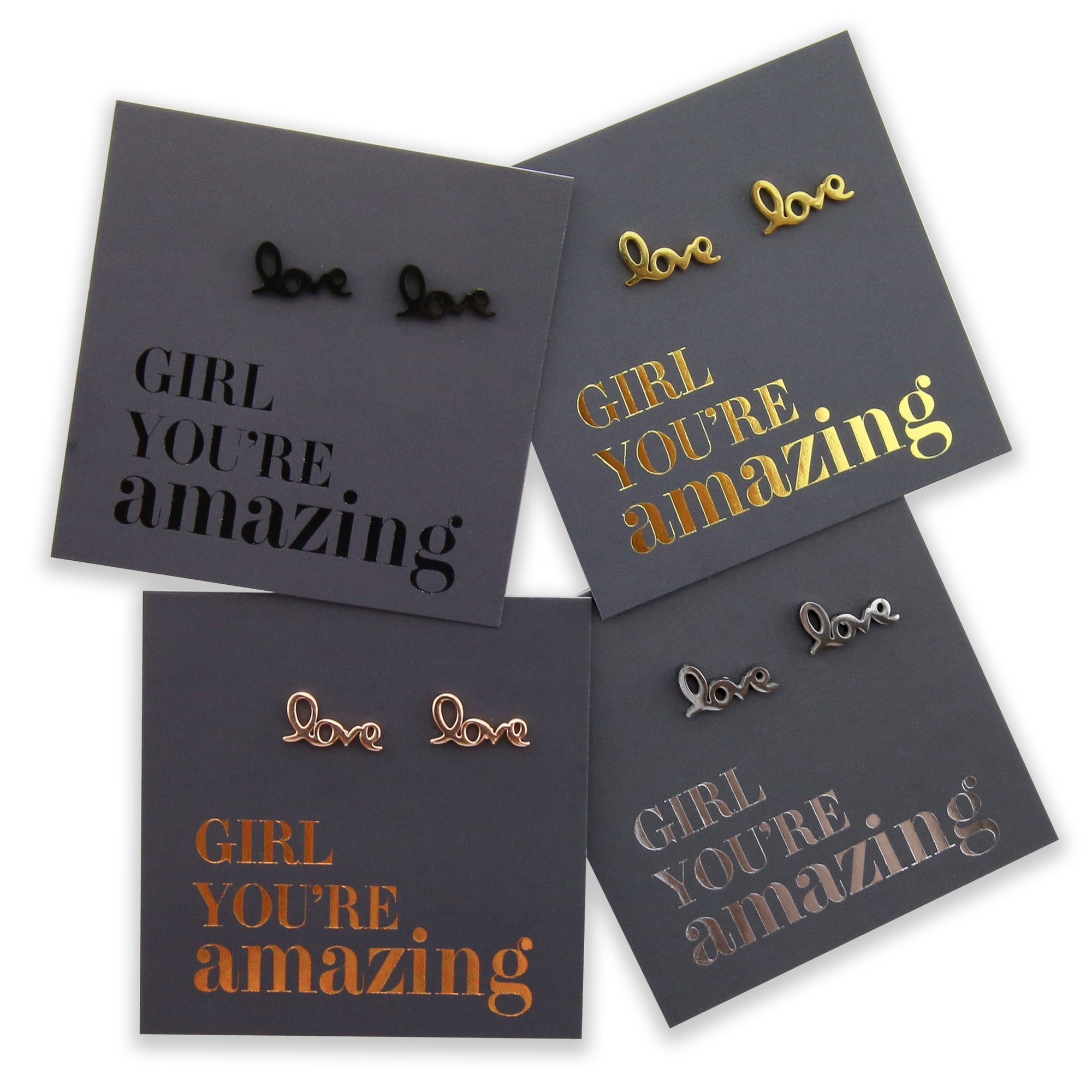 Stainless Steel Earring Studs - Girl You're Amazing - LOVE