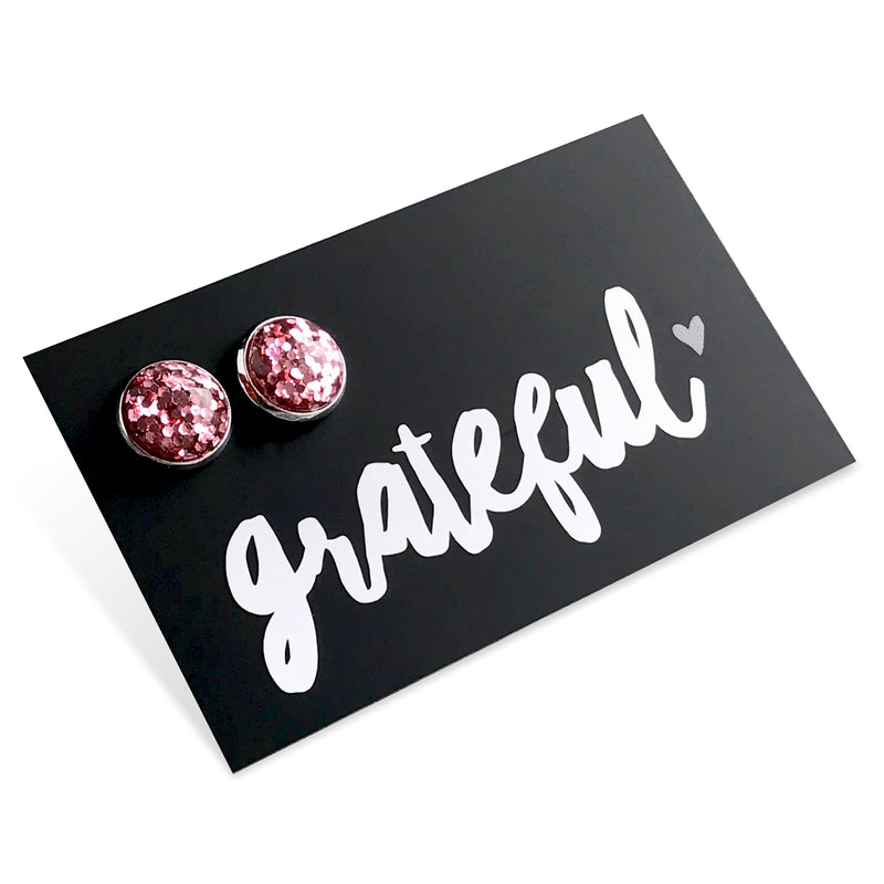 SPARKLEFEST - Grateful! Glitter Resin Earrings set in Silver - Pretty Pink (8901)