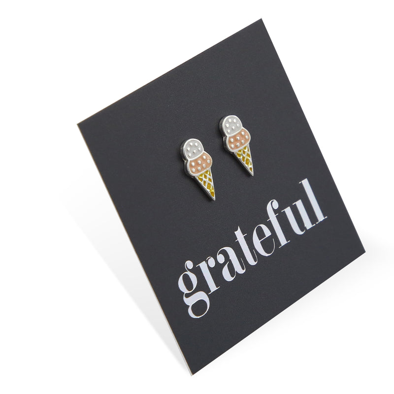 Ice Cream Studs- Sterling Silver - Grateful (8711-R)
