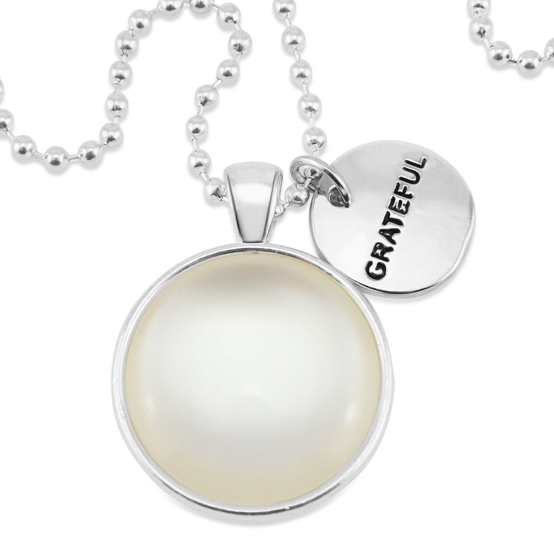 Black & Whites - Pearl & Bright Silver ' GRATEFUL ' Necklace - White Resin (11115)