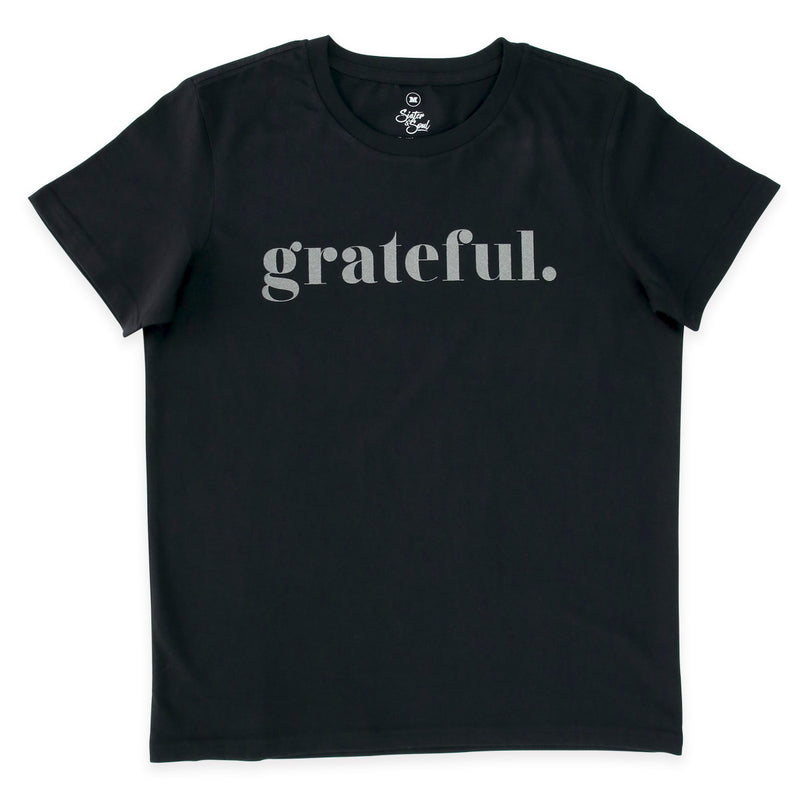 GRATEFUL - Black Boxy Tee - Charcoal Shimmer Print