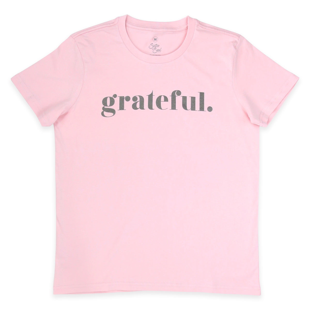 GRATEFUL - Pink Boxy Tee - Charcoal Shimmer Print