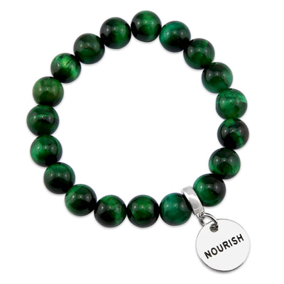 Precious Stones - Green TIGERS EYE 10mm bead bracelet - with Word Charms