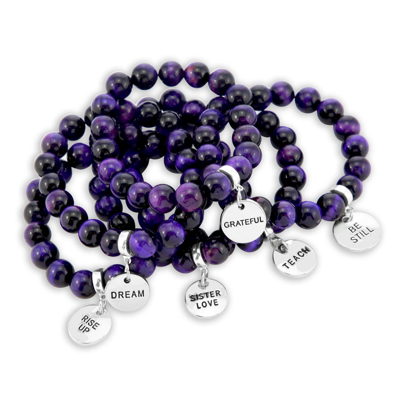 LIMITED EDITION Precious Stones - Deep Purple Tigers Eye 10mm bead bracelet - with Word Charms (5008)