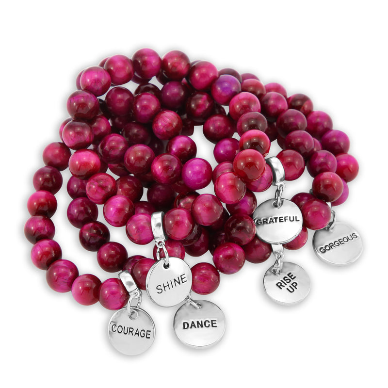 Precious Stones - Bright Fuchsia Tigers Eye 10mm bead bracelet - with Word Charms (5017)