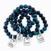 Precious Stones - Teal Tigers Eye 10mm bead bracelet - with Word Charms (3004)